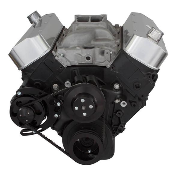 Black Chevy Big Block V-Belt System - Alternator Only