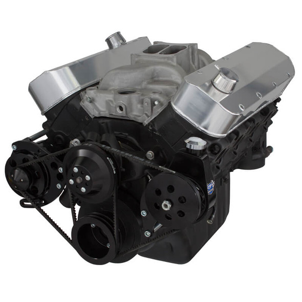 Black Chevy Big Block V-Belt System - Power Steering