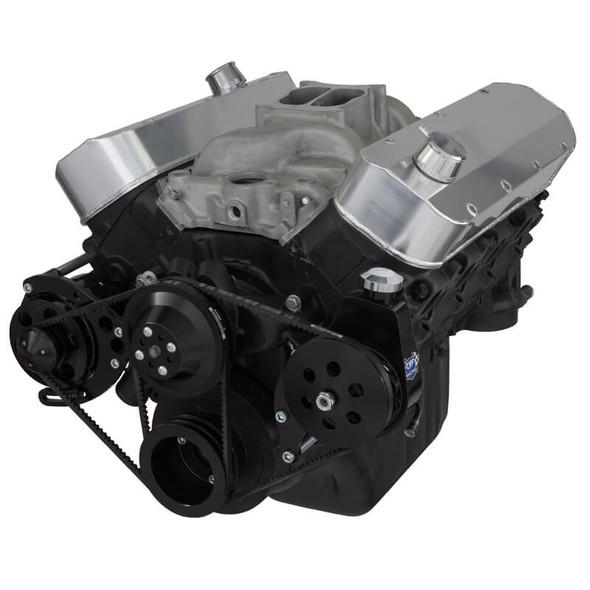 Black Chevy Big Block V-Belt System - Power Steering