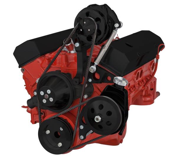Black Chevy Small Block V-Belt System - Alternator & Power Steering, SWP