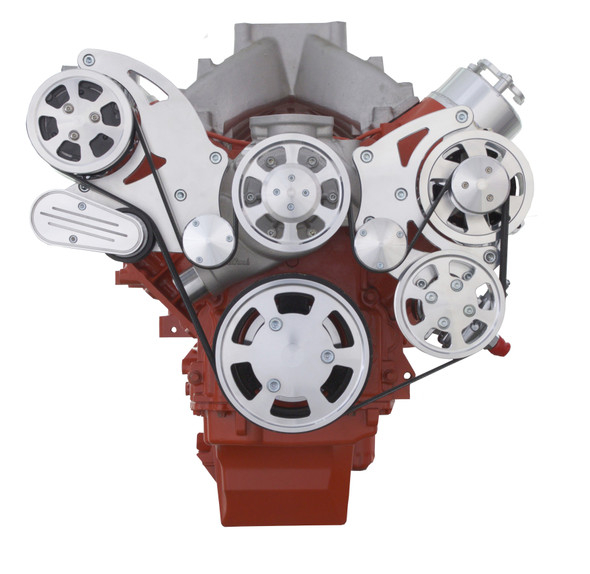 Chevy LS Engine High Mount Serpentine Kit - AC, Alternator & Power Steering with Standard Rotation Water Pump