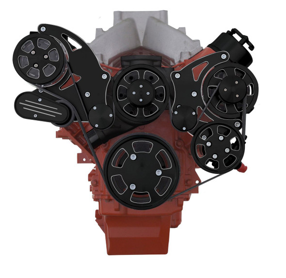 Black Diamond Chevy LS High Mount Serpentine Kit - Standard Rotation WP - AC, Alternator & Power Steering