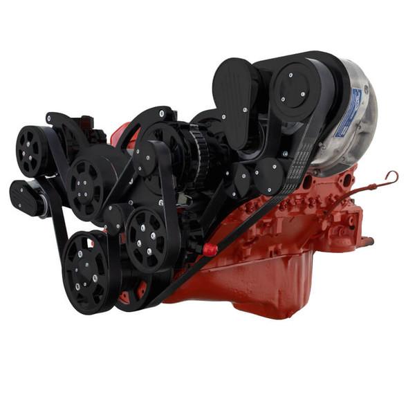 Black Chevy Small Block Serpentine Kit - ProCharger - AC, Alternator & Power Steering