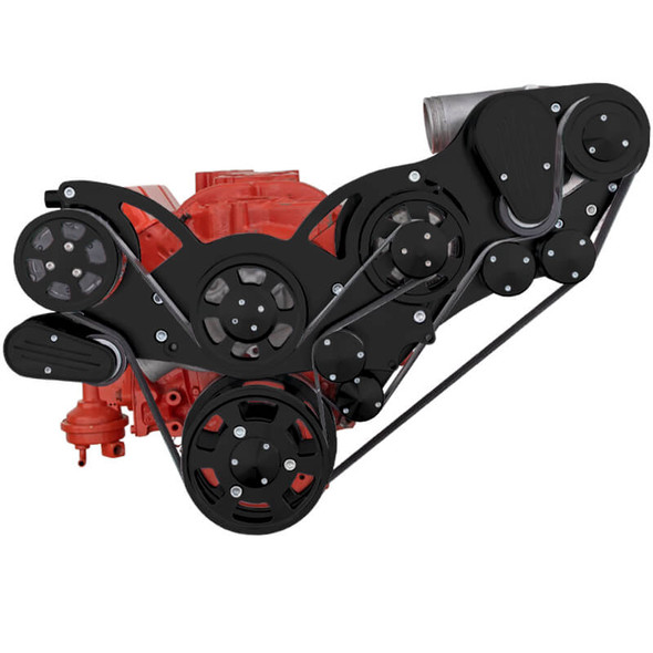 Black Chevy Small Block Engine Serpentine Kit - ProCharger - AC & Alternator