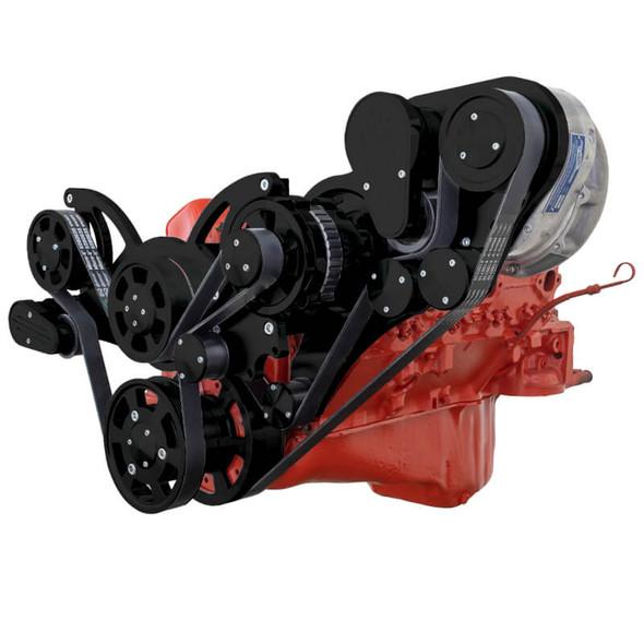 Black Chevy Small Block Engine Serpentine Kit - ProCharger - Alternator Only