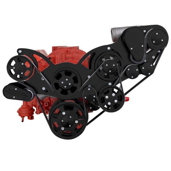 Black Chevy Small Block Serpentine Kit - ProCharger - Power Steering & Alternator