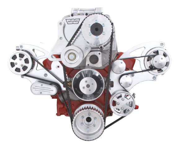 Serpentine System for Small Block Chevy Supercharger - AC, Power Steering, Alternator & Root Style Blower - All Inclusive