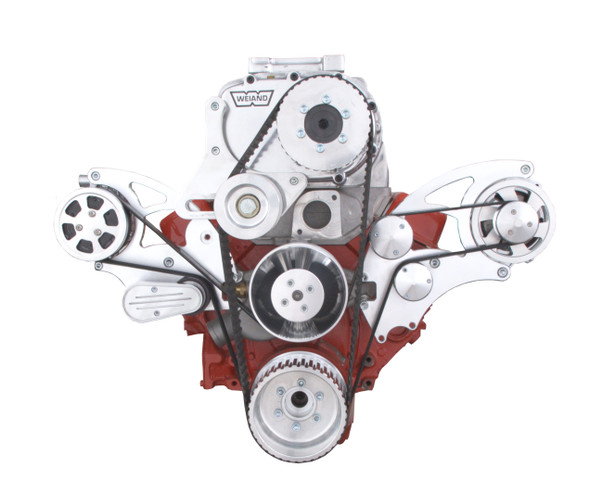 Serpentine System for Small Block Chevy Supercharger - AC, Alternator & Root Style Blower - All Inclusive