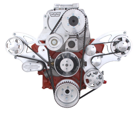 Serpentine System for Small Block Chevy Supercharger - Power Steering, Alternator & Root Style Blower - All Inclusive