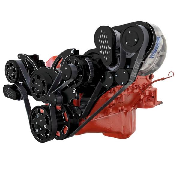 Black Diamond Chevy Small Block Engine Serpentine Kit - ProCharger - AC & Alternator