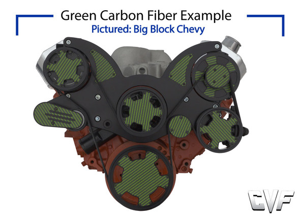 Stealth Black Carbon Fiber Serpentine System for Small Block Chevy - All Inclusive - PS & ALT