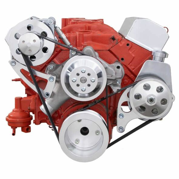 Chevy Small Block Serpentine Conversion - Power Steering & Alternator, Long Water Pump High Mount