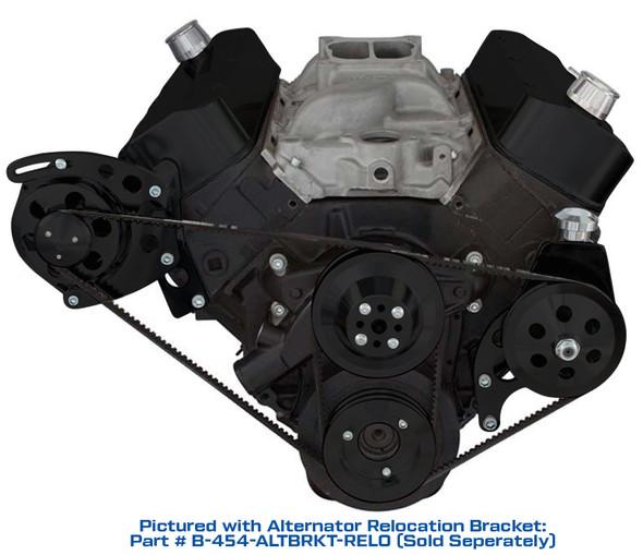 Stealth Black Big Block Chevy V-Belt System - Power Steering, SWP