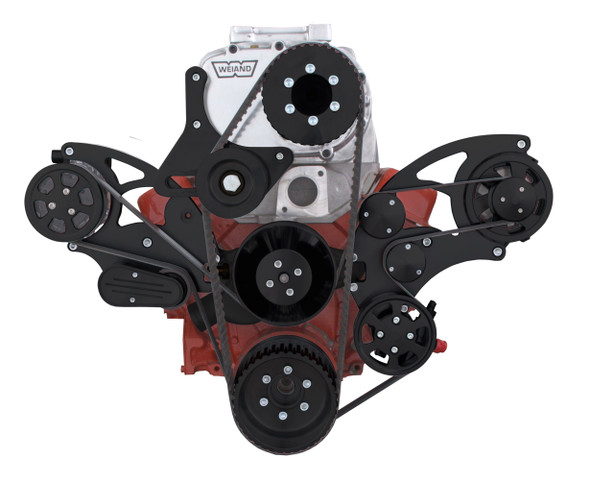 Stealth Black Serpentine System for Small Block Chevy Supercharger - AC, Power Steering & Alternator for use with Root Style Blower - All Inclusive
