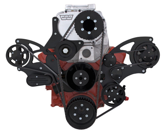 Stealth Black Serpentine System for Small Block Chevy Supercharger - PS & ALT for use with Root Style Blower - All Inclusive
