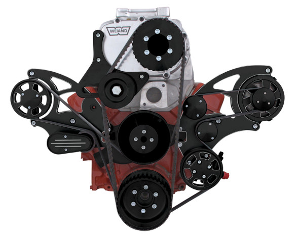 Black Diamond Serpentine System for Small Block Chevy Supercharger - PS & ALT for use with Root Style Blower - All Inclusive