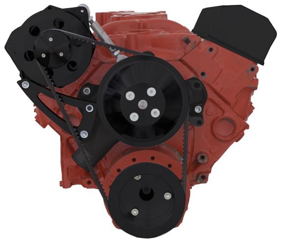 Black Chevy Small Block V-Belt System - Alternator Only High Mount - Long Water Pump