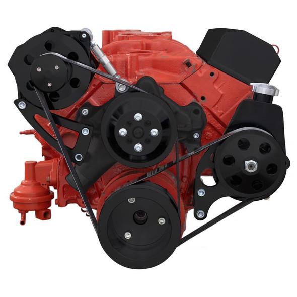 Black Chevy Small Block Serpentine Conversion - Power Steering & Alternator, Long Water Pump High Mount