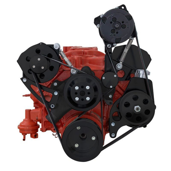 Black Chevy Small Block Serpentine Conversion - AC, PS,  High Mount ALT - Long Water Pump