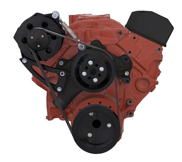 Black Chevy Small Block Serpentine Conversion - High Mount -Alternator Only - Long Water Pump