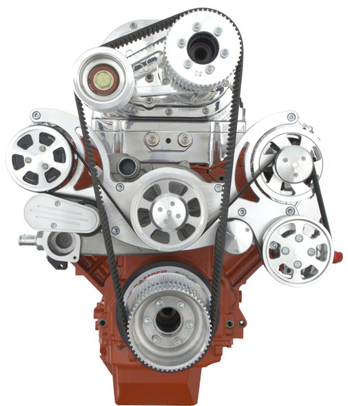 Chevy LS Engine Mid-Mount Serpentine Kit - AC, PS, ALT & TBS Roots Style Blower - All Inclusive