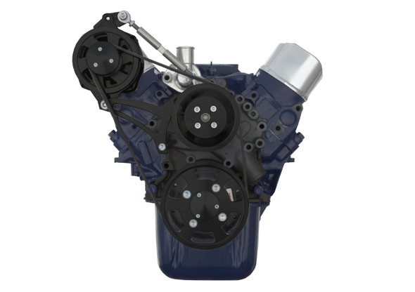 Stealth Black Ford 289-302 Serpentine Conversion Kit - Alternator Only- High Mount - Special Cobra Configuration
