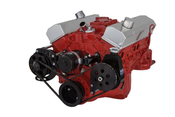 Stealth Black Chevy Small Block V-Belt System - Alternator & Power Steering, EWP