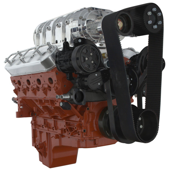 Stealth Black Chevy LS Engine Mid-Mount Serpentine Kit - AC, PS, ALT & TBS Roots Style Blower - All Inclusive