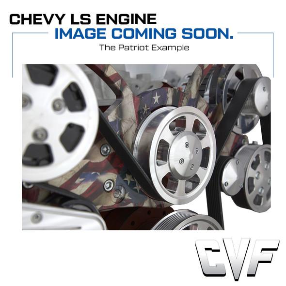 The Patriot: Chevy LSX All Inclusive Serpentine Kit w/ Patriotic Plating. AC/PS.ALT
