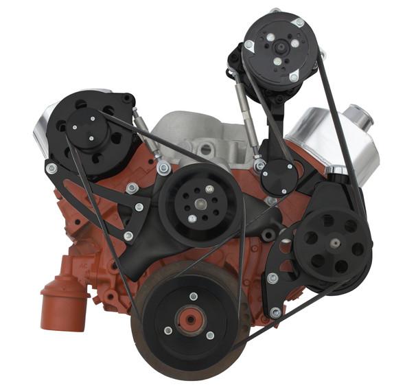 Stealth Black Big Block Chevy Serpentine Conversion Kit - High Mount ALT - Power Steering, AC, Long Water Pump