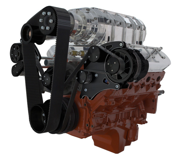 Black Diamond Chevy LS Engine Wide Mount Serpentine Kit - Alternator Only Compatible with TBS Roots Style Blower - All Inclusive