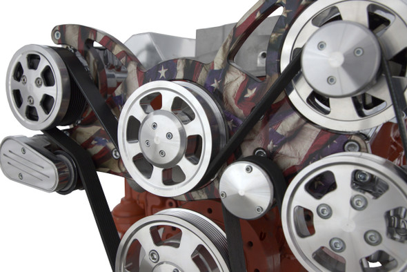 The Patriot: Small Block Chevy All Inclusive Serpentine Kit w/ Patriotic Plating. PS/ALT