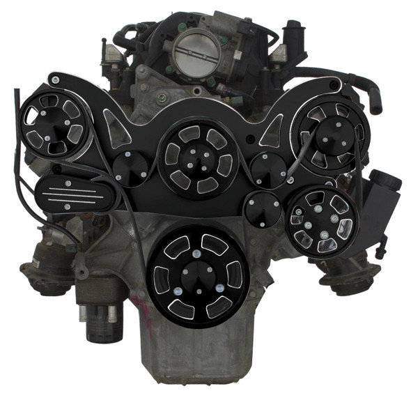 BLACK DIAMOND GEN III HEMI POWER STEERING AND ALTERNATOR WRAPTOR FRONT SIDE VIEW