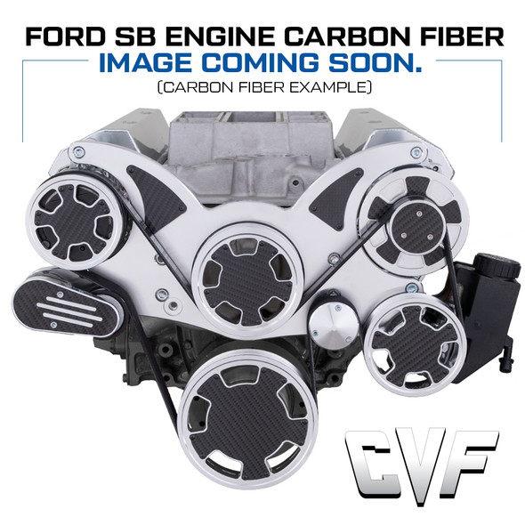 Clear Coat Carbon Fiber Serpentine System for Small Block Ford - All Inclusive - PS & ALT