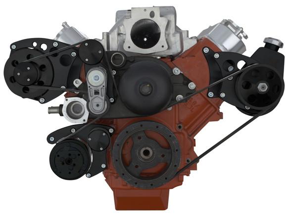 Stealth Black Chevy LS Engine Serpentine Conversion - AC, Power Steering & Alternator