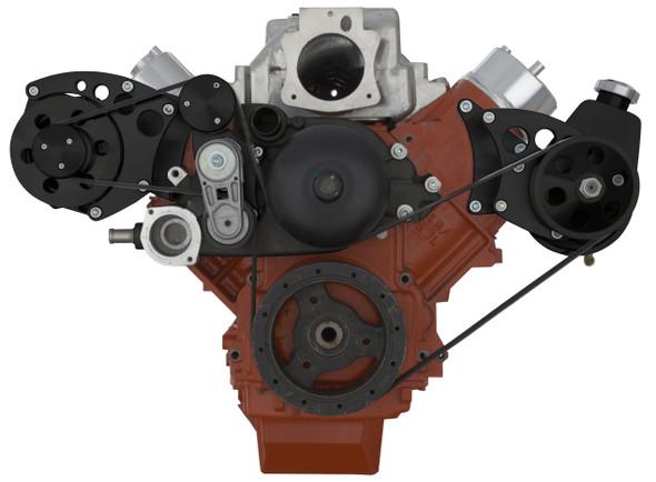 Stealth Black Chevy LS Engine Serpentine Conversion - Power Steering & Alternator