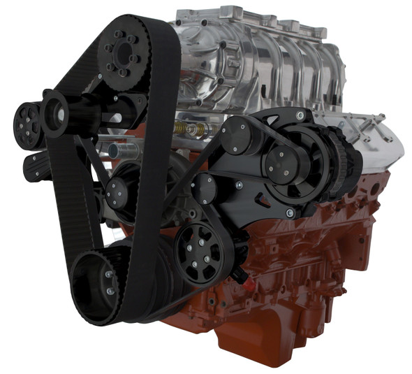 BLACK LSX WIDE MOUNT WEIAND SUPERCHARGER AC WRAPTOR RIGHT SIDE VIEW