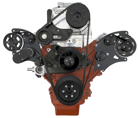 BLACK LSX WIDE MOUNT WEIAND SUPERCHARGER ALTERNATOR ONLY WRAPTOR FRONT SIDE VIEW
