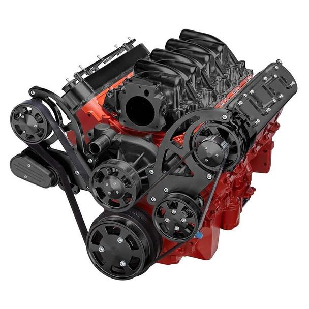 Stealth Black Chevy LS High Mount Serpentine Kit - Power Steering &  Alternator