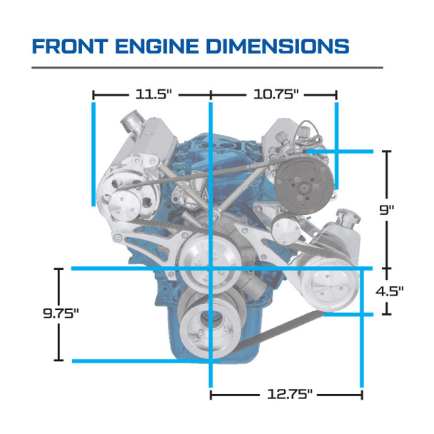 Ford 5.0L & 5.8L Serpentine Conversions Kit - Front Engine Dimensions