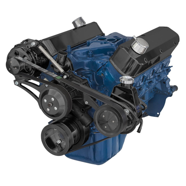 Black Ford 5.0L & 5.8L Serpentine Conversion Kit - Alternator & Power Steering