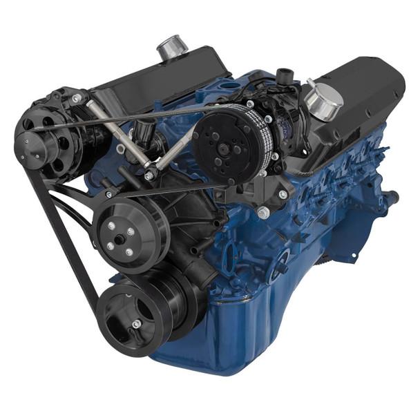 Black Ford 5.0L & 5.8L Serpentine Conversion Kit - Alternator & A/C