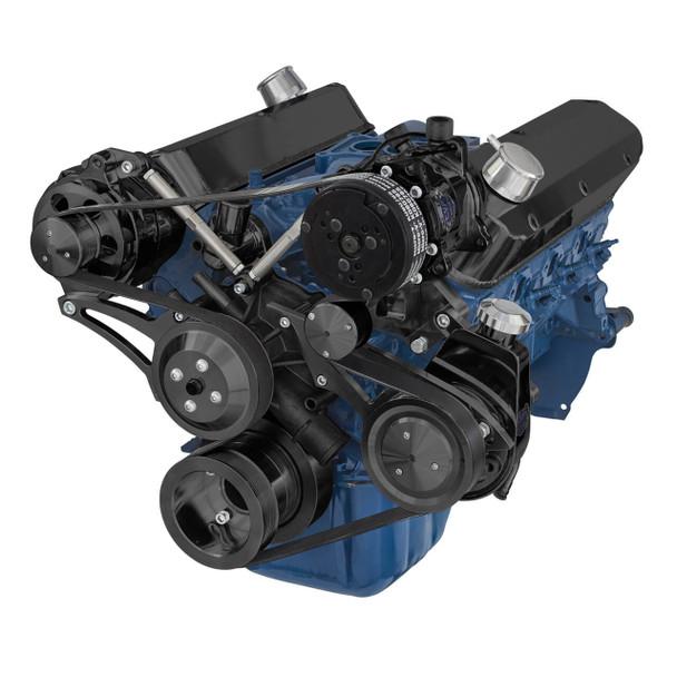 Black Ford 5.0L & 5.8L Serpentine Conversion Kit - AC, Alternator & Power Steering