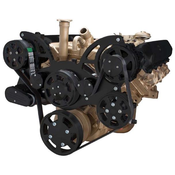 Stealth Black Serpentine System for Oldsmobile 350-455 - AC, Power Steering & Alternator
