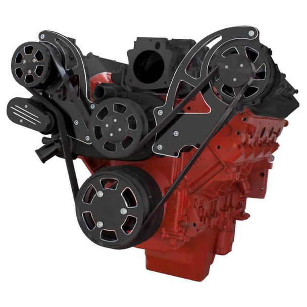 Black Diamond Chevy LS Engine Serpentine Kit - AC & Alternator