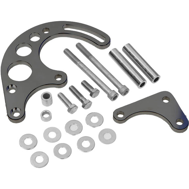Stealth Black Chevy Small Block Power Steering Bracket - Electric or Short Water Pump
