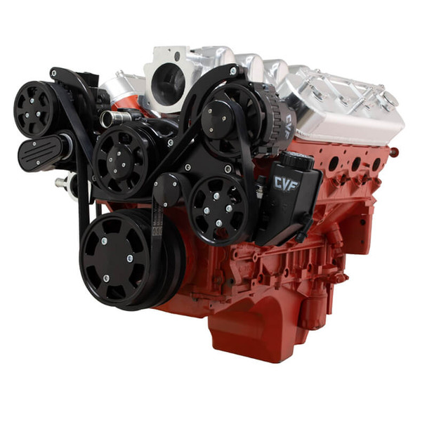 Black Chevy LS Engine Mid Mount Serpentine Kit - AC, Alternator & Power Steering