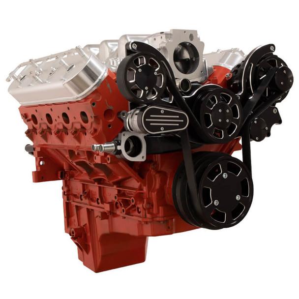 Black Diamond Chevy LS Engine Mid Mount Serpentine Kit - Alternator Only