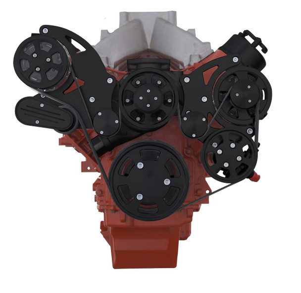 Black Chevy LS High Mount Serpentine Kit - Standard Rotation WP - AC, Alternator & Power Steering