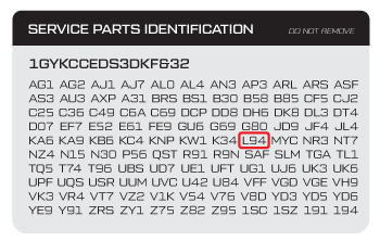 Chevy RPO (Regular Production Option) Code Sticker and LS Engine Type